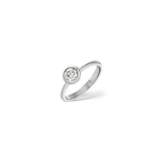 H/Si Solitaire Ring 0.50CT Diamond 18K White Gold