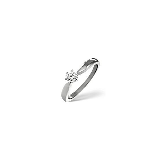 G/Vs Solitaire Ring 0.50CT Diamond 18K White Gold