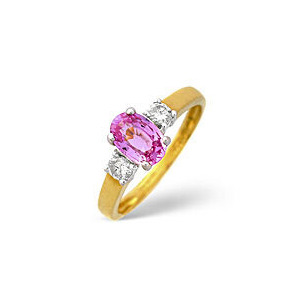 Photo of Pink Sapphire & 0.20CT Diamond Ring 18K Yellow Gold Jewellery Woman