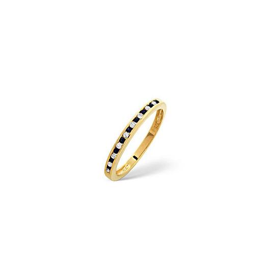 Sapphire & 0.10CT Diamond Ring 9K Yellow Gold