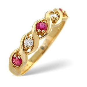Photo of Ruby & 0.08CT Diamond Ring 9K Yellow Gold Jewellery Woman