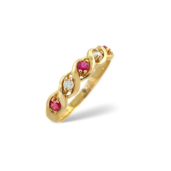 Ruby & 0.08CT Diamond Ring 9K Yellow Gold