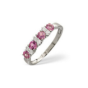 Photo of Pink Sapphire & 0.09CT Diamond Ring 9K White Gold Jewellery Woman