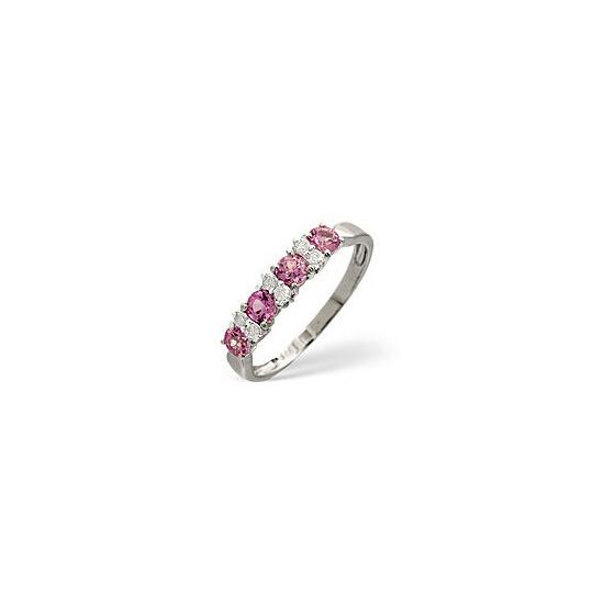Pink Sapphire & 0.09CT Diamond Ring 9K White Gold