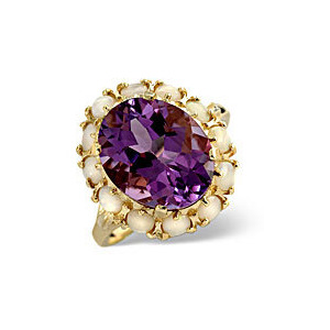 Photo of Opal &  Amethyst Ring 9K Yellow Gold Jewellery Woman