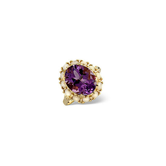 Opal &  Amethyst Ring 9K Yellow Gold