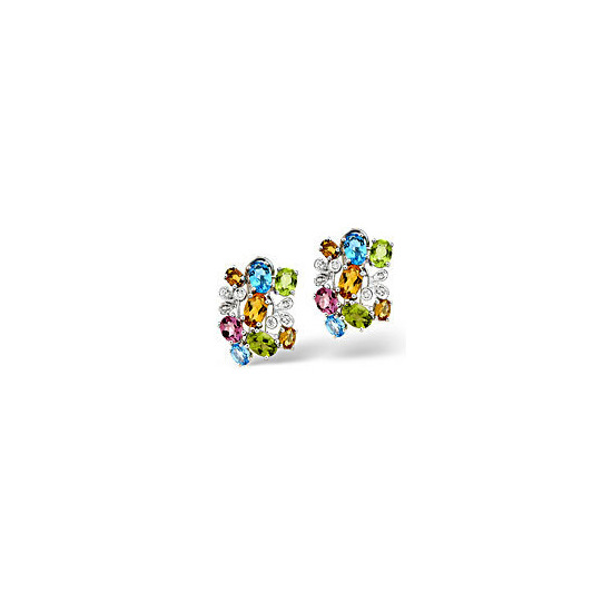 The Diamond Store Multi 0 06CT Diamond Earrings 9K White Gold