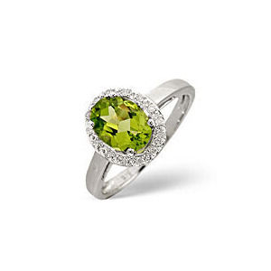 Photo of Peridot & 0.07CT Diamond Ring 9K White Gold Jewellery Woman