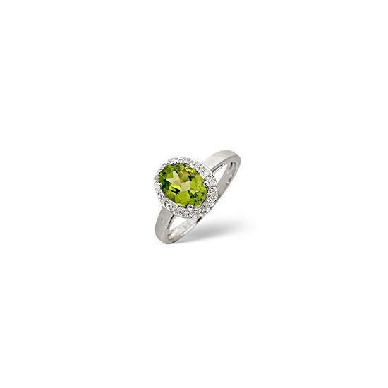Peridot & 0.07CT Diamond Ring 9K White Gold