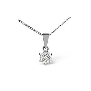 Photo of H/Si Solitaire Pendant 0.33CT Diamond 18KW Jewellery Woman