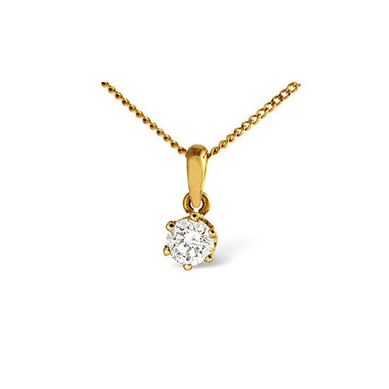 Solitaire Pendant 0.25CT Diamond 18KY