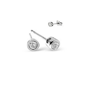 Photo of Stud Earrings 0.10CT Diamond 9K White Gold Jewellery Woman