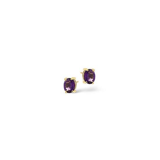 Amethyst Earrings  Amethyst 9K Yellow Gold