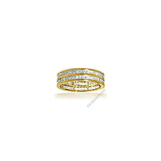 Holly 18K H/Si Princess Cut Diamond Full Eternity Ring 1ct 2 Row