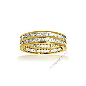 Photo of Holly 18K g/Vs Princess Cut Diamond Full Eternity Ring 1CT 2 Row Jewellery Men
