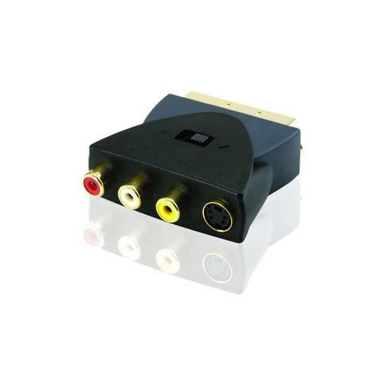 Profigold Adapter, Scart Male to 3 RCA Phono + S-VIDEO