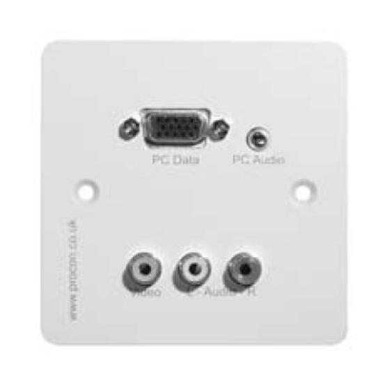 PROCON Input Plate 1 Gang Input Panel XGA and Audio Screw Terminal Module with 3 x RCA Phono - WHITE