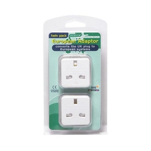 Photo of European Travel Adaptor Twin Pack Adaptors and Cable