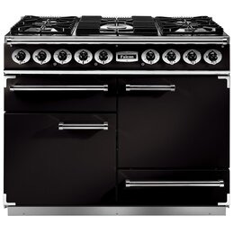 Falcon F1092DXDFBL/BM 76810 Deluxe 110cm Dual Fuel Range Cooker - Black And Brass