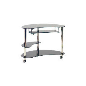 Photo of Atlas Computer Trolley, Black Glass & Chrome Furniture