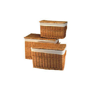 Photo of Wicker Lidded Baskets Light Brown 3 Pack Household Storage