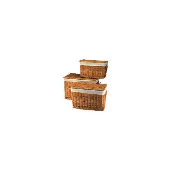 Wicker lidded baskets light brown 3 pack