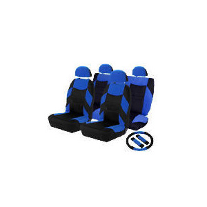 Photo of Concept Blue Set - Seatcovers, Steering Wheel Cover, Shoulder Pads Car Accessory