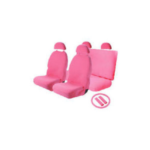 Photo of Think Pink Set - Seatcovers, Steering Wheel Cover, Shoulder Pad Car Accessory