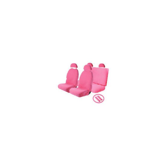 Think Pink Set - Seatcovers, Steering Wheel Cover, Shoulder Pad