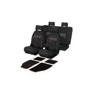 Photo of AC 842FULL Seat Cover Set With Mats Red/Black - Striped New Car Accessory