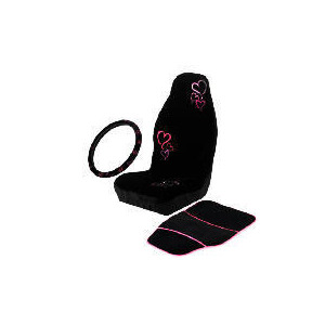 Photo of Black/Pink Seat Cover - Mat - Steering Wheel Cover (Hearts) Car Accessory