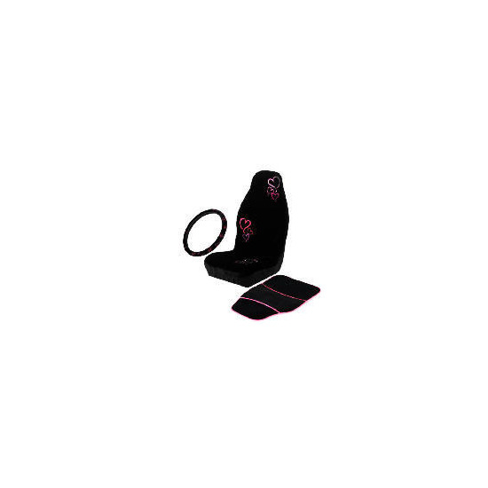 Black/Pink Seat Cover - Mat - Steering Wheel Cover (Hearts)