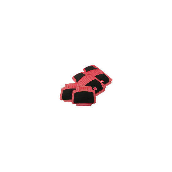Turbo Car Mat 4 Set Black/Red