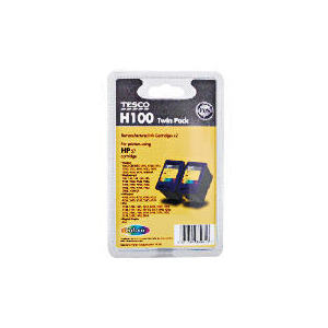 Photo of Tesco H100 Remanufactured Colour Ink Twin Pack Ink Cartridge