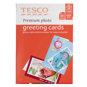 Photo of Tesco Premium Photo Greeting Card 20 Sheets Stationery