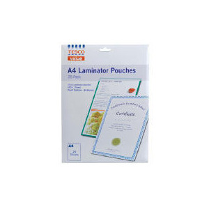 Photo of Tesco A4 Laminate Pouches 25PK Stationery