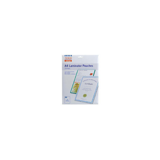 Tesco A4 Laminate Pouches 25Pk