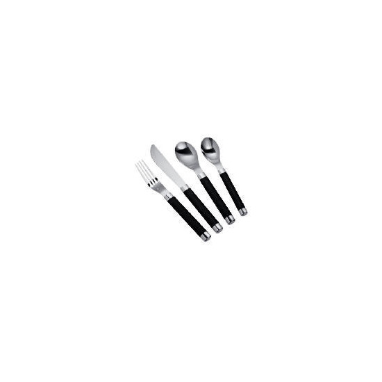 Tesco soft touch cutlery set 16 pieces - black
