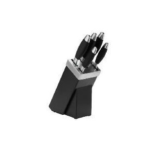 Photo of Tesco 5 Piece Knife Block Set - Black & Stainless Steel Kitchen Accessory