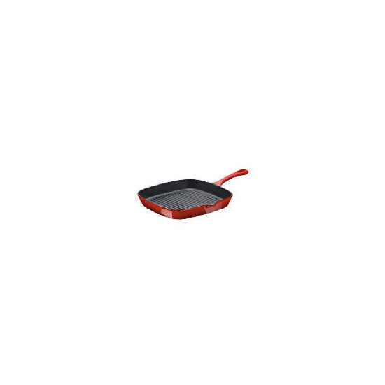 Tesco Finest Non Stick Cast Iron Griddle Pan Red