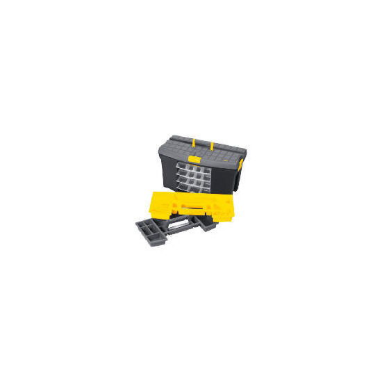 "Stanley 24"" Mega Toolbox + 4 Swivel Bins + Cable & Level Holders"