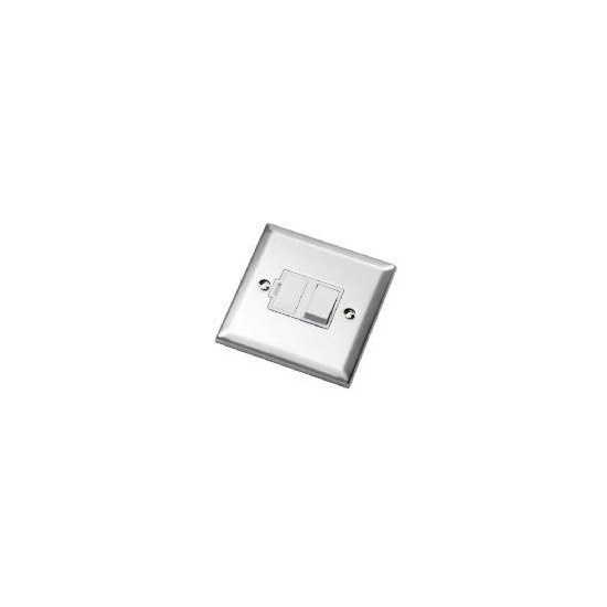 Bevelled Edge Stainless Steel 13A Switched Fused Connection Unit
