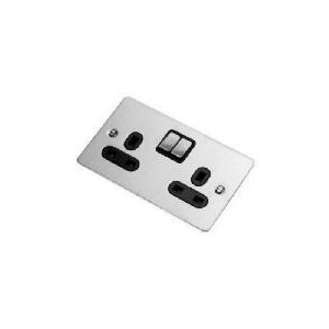 Photo of Flatplate Stainless Steel 2 Gang 13A Switched Socket Power Supply