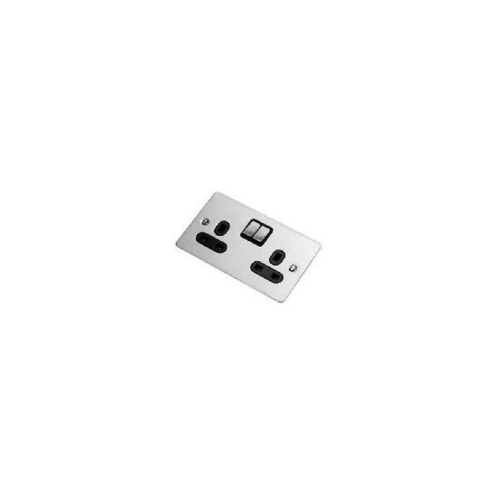 Flatplate Stainless Steel 2 Gang 13A Switched Socket
