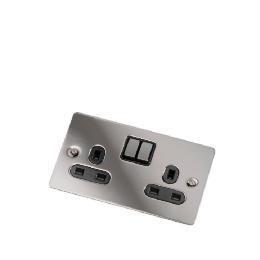 Flatplate Black Nickel 2 Gang 13A Switched Socket Reviews