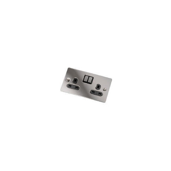 Flatplate Black Nickel 2 Gang 13A Switched Socket