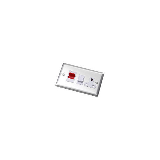 Bevelled Edge Stainless Steel 45A Cooker Control Unit Dp Switch