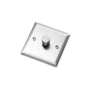 Photo of Bevelled Edge Stainless Steel 1 Gang 2 Way 60 - 400W Dimmer Lighting