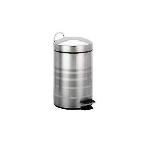 Photo of Tesco Stainless Steel Pedal Bin Stripe Bin