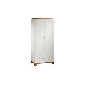 Photo of Apsley 2 Door 2 Drawer Wardrobe, White Painted and Pine Furniture